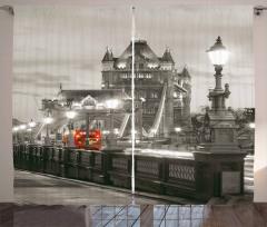 Londra Köprü Manzarası Fon Perde Antik Mimari Gri