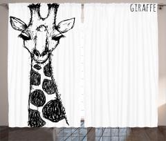 Kara Kalem Zürafa Figürü Fon Perde Afrika Kara Kıta