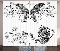 Zarif Kelebek Desenli Fon Perde Şık Tasarım Siyah