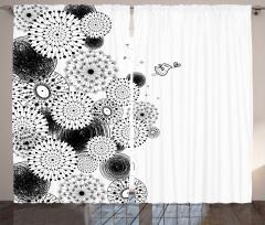 Şık Tasarım Fon Perde Siyah Beyaz Kuş Aşk Çiçekler