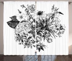 Çiçek Buketi Desenli Fon Perde Romantik Siyah