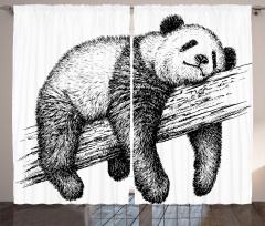 Karakalem Panda Desenli Fon Perde Siyah Beyaz