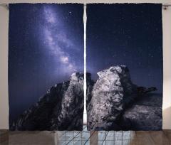 Kayalar ve Yıldızlı Gökyüzü Temalı Fon Perde Siyah