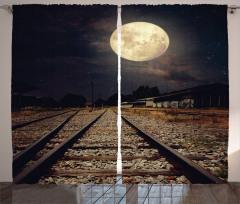 Demiryolu Baskılı Fon Perde Dolunay Işığı Mehtap