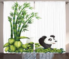Sevimli Panda ve Bambu Fon Perde Sevimli Panda Bambu Ağacı