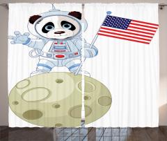 Astronot Panda Desenli Fon Perde Astronot Panda Ayda Beyaz