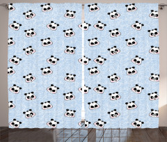Mutlu Panda Desenli Fon Perde Komik Mutlu Panda Desenli