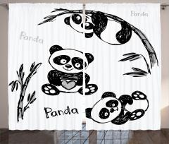 Bebek Panda Desenli Fon Perde Bebek Panda Bambu Ağacı