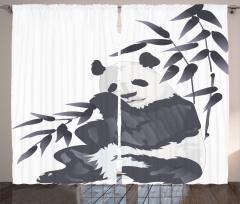 Panda ve Bambu Desenli Fon Perde Suluboya Etkili Asya Siyah Beyaz