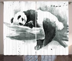 Uyuyan Panda Desenli Fon Perde Uyuyan Panda Siyah Beyaz