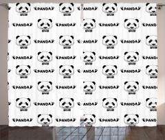 Şirin Panda Portreli Fon Perde Siyah Beyaz Şık Tasarım