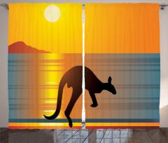 Kanguru Siluetli Fon Perde Gün Batımı Ufuk Çizgisi