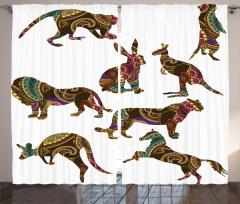 Etnik Figürler ile Hayvanlar Temalı Fon Perde