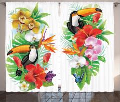 Tropikal Çiçek Temalı Fon Perde Egzotik Hayvanlar