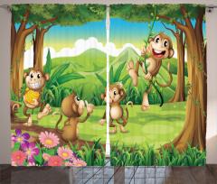 Çocuklar için Fon Perde Ormanda Oynayan Maymunlar