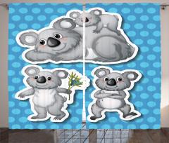 Çocuklar için Fon Perde Sevimli Koala Ailesi Mavi