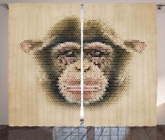 Şık Tasarım Fon Perde Maymun Figürü Kahverengi