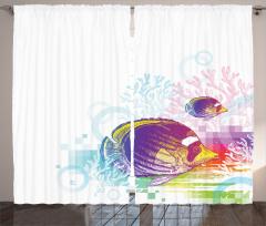 Rengarenk Balık Desenli Fon Perde Rengarenk Balık