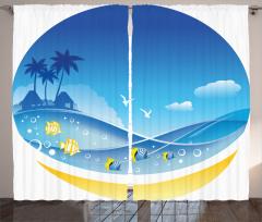 Tropikal Ada Konulu Fon Perde Okyanus Balık Mavi