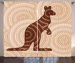 Kanguru Figürlü Fon Perde Kanguru Figürü Modern Sanat