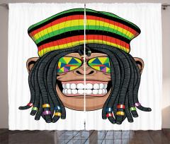 Hippi Maymun Desenli Fon Perde Jamaika Komik