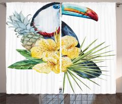 Şık Tropik Tasarımlı Fon Perde Tropikal Simgeler Çiçek
