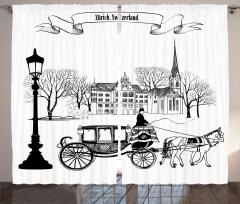 Nostaljik Şehir Fon Perde Antik Siyah Beyaz