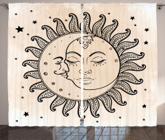 Güneş Ay ve Yıldızlar Fon Perde Güneş Ay ve Yıldızlar Rüya Retro