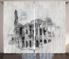 Kolezyum Baskılı Fon Perde İtalya Orta Çağ Beyaz