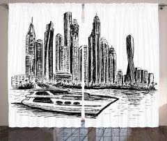 Modern Şehir Fon Perde Gökdelenler Tekne