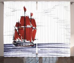 Denizdeki Yelkenli Fon Perde Mavi Kırmızı