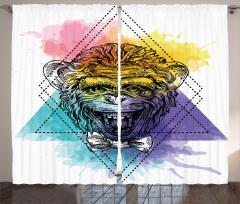 Maymun Baskılı Modern Fon Perde Modern Sanat Şık Tasarım