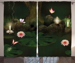 Mistik Orman Baskılı Fon Perde Çiçekler Kelebekler