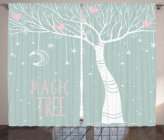 Sihirli Ağaç Desenli Fon Perde Sihirli Ağaç Ay Yıldızlar
