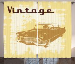 Nostaljik Araba Desenli Fon Perde Sarı Kahverengi