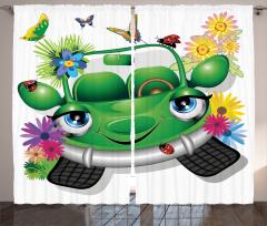 Çocuklar için Fon Perde Ekolojik Araba Çiçekler