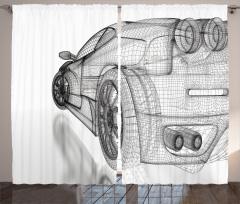 Üç Boyutlu Etkili Fon Perde 3D Araba Siyah Beyaz