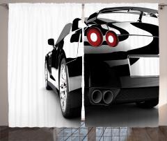 Spor Araba Baskılı Fon Perde Şık Tasarım Siyah