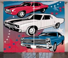 Eski Klasik Arabalar Baskılı Fon Perde Retro Mavi