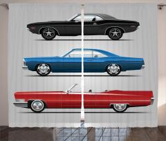 Klasik Araba Desenli Fon Perde Nostaljik Tasarım