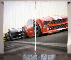 Yarış Arabası Desenli Fon Perde Motor Sporları