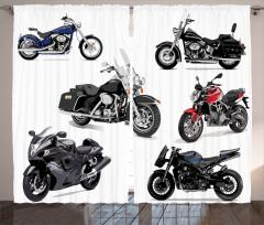 Motosiklet Desenli Fon Perde Şık Tasarım Siyah