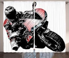 Karakalem Etkili Fon Perde Motosiklet Yarışçısı