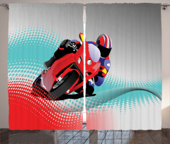 Motosiklet Desenli Fon Perde Motor Sporları Gri