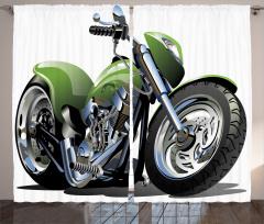 Yeşil Motosiklet Desenli Fon Perde Macera Tutkunu