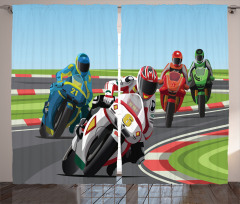 Motosiklet Yarışı Temalı Fon Perde Motor Sporları