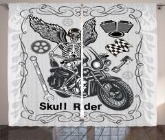 Motosiklet Tutkusu Temalı Fon Perde Kurukafa Gri