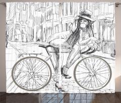 Mavi Fon Perde Bisiklet Modern Sanat Şık Tasarım
