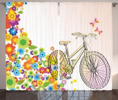 Bahar Temalı Fon Perde Bisiklet Kuşlar Macera
