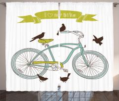 Bisiklet Desenli Fon Perde Mor Bahar Çiçekleri